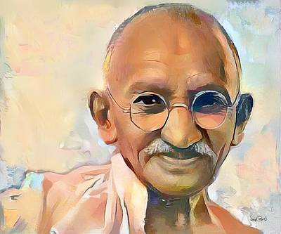 Painting - Mahatma Gandhi-tribute by Wayne Pascall