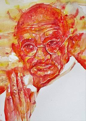 Painting - Mahatma Gandhi - Watercolor Portrait.5 by Fabrizio Cassetta