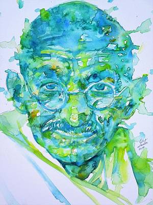 Painting - Mahatma Gandhi - Watercolor Portrait.6 by Fabrizio Cassetta