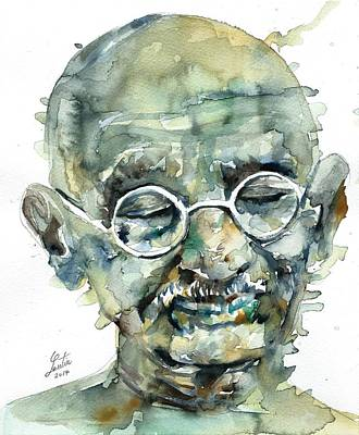Painting - Mahatma Gandhi - Watercolor Portrait.7 by Fabrizio Cassetta