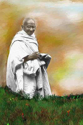 Disobedient Digital Art - Mahatma Ghandi by C A Soto Aguirre