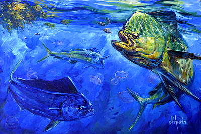 Sports Paintings - Mahi and Moon Jellyfish by Tom Dauria