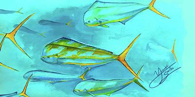 Flyfishing Digital Art - Mahi School by Yusniel Santos