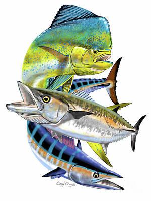 Hobby Digital Art - Mahi Wahoo Kingfish by Carey Chen
