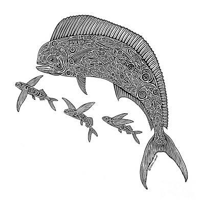 Dolphin Drawing - Mahi With Flying Fish by Carol Lynne