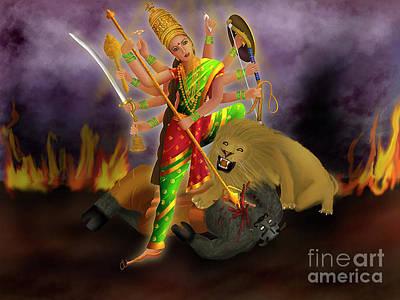 Painting - Mahishasurmardini by Chitra Helkar