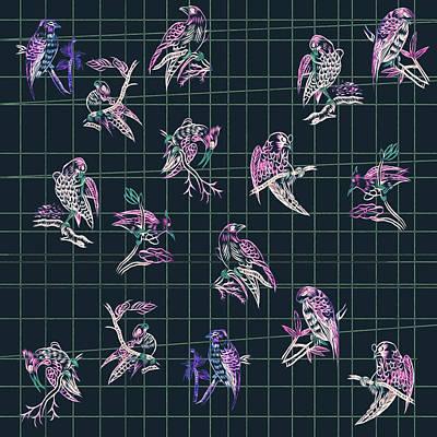 Digital Art - Mahjong Birds On Blue by Gecko Joy