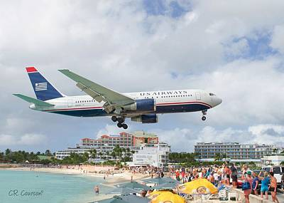 Photograph - Maho Beach Landing by CR Courson