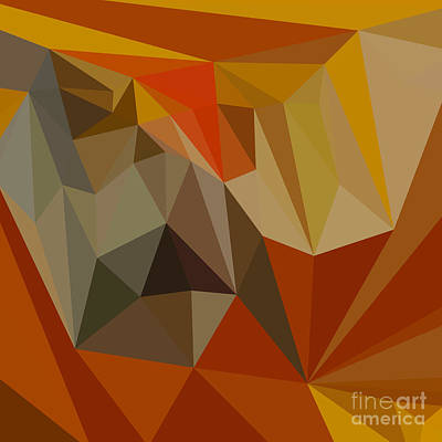 Mahogany Brown Abstract Low Polygon Background Art Print
