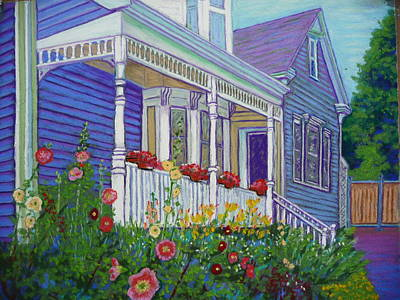 Mahone Bay Hollyhocks Art Print by Rae  Smith