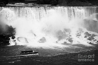 Maid Of The Mist Boat Below The American And Bridal Veil Falls Niagara Falls Ontario Canada Art Print by Joe Fox