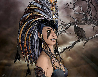 Vulture Mixed Media - Maiden And The Vulture by G Berry