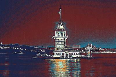 Turkey Painting - Maiden Tower In Istanbul Turkey by Celestial Images