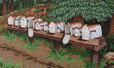 Painting - Mail Boxes by Katherine Young-Beck