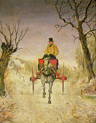 Carriage Driving Painting - Mail Cart Christmas by R R Ripley