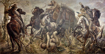 Horse Mural Painting - Mail Coach Attacked By Bandits by William C Palmer