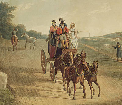 Horse Drawn Carriage Painting - Mail Coach by Frederick Christian Lewis