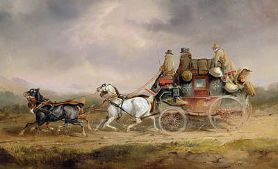 Coach Horses Painting - Mail Coaches On The Road - The Louth-london Royal Mail Progressing At Speed by Charles Cooper Henderson