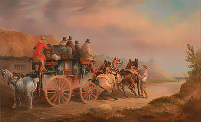 Mail Coaches On The Road - The Quicksilver Devonport - London Mail About To Start With A New Team Art Print by Mountain Dreams