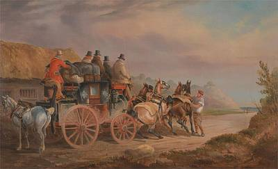 Mail Coaches On The Road,  The Quicksilver Devonport-london Royal Mail About To Start With A New Tea Art Print by Celestial Images