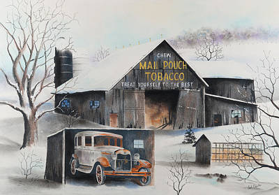 Drawing - Mail Pouch Barn Clearfield Co Pa 2 by Paul Cubeta