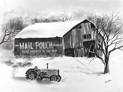 Drawing - Mail Pouch Barn Greene Co Pa 3 by Paul Cubeta