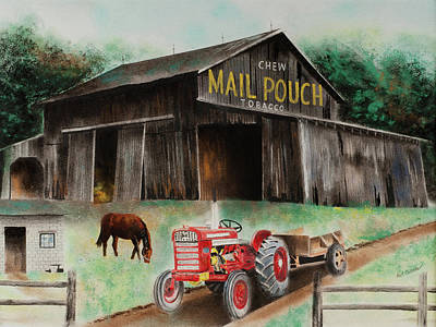 Pastel - Mail Pouch Barn Indiana Co Pa by Paul Cubeta