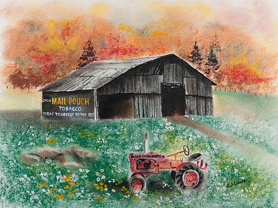 Pastel - Mail Pouch Barn West Virginia 3 by Paul Cubeta