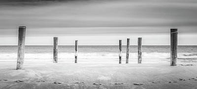 Main Beach Pilings Bw Art Print by Ryan Moore