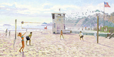 Volleyball Painting - Main Beach Volleyball by Steve Simon