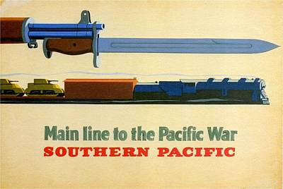 Train Mixed Media - Main Line To The Pacific War - Southern Pacific - Retro Travel Poster - Vintage Poster by Studio Grafiikka