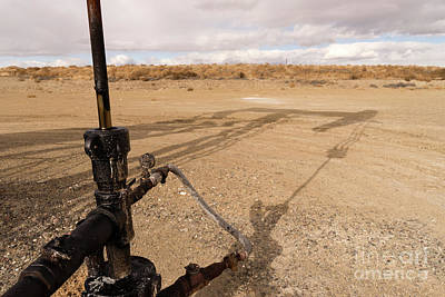 Photograph - Main Shaft Pump Jack Oil Fracking Station Wyoming by Christopher Boswell