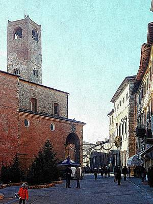 Photograph - Main Square At Christmas Citta Della Pieve Umbria by Dorothy Berry-Lound