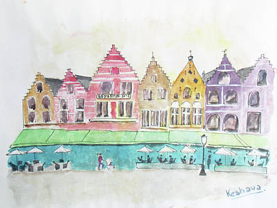 Painting - Main Square Brugges by Keshava Shukla