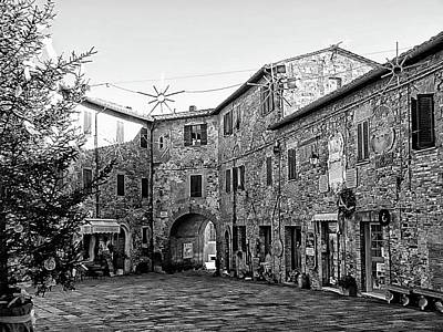 Photograph - Main Square Panicale Black And White by Dorothy Berry-Lound