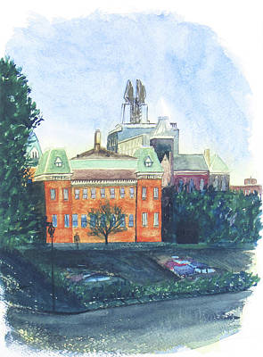 Main Street Corners Painting - Main And Washington St. Vignette by Brian Ocello