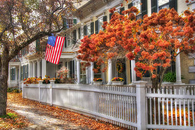 Fall Scenes Photograph - Main St. Usa - Woodstock, Vermont by Joann Vitali