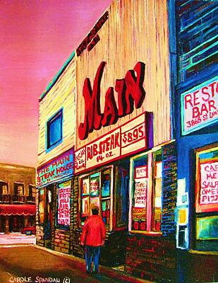 Montreal Restaurants Painting - Main Steakhouse Blvd.st.laurent by Carole Spandau