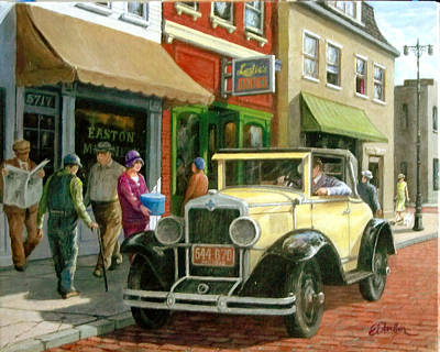 Streetscape Painting - Main Street 1929 by Edward Farber