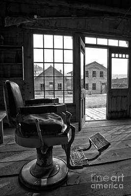 Photograph - Main Street Barber Chair Black And White by Adam Jewell