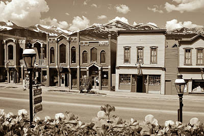 Colorado Ski Art Wall Art - Photograph - Main Street - Breckenridge Colorado Skyline In Sepia by Gregory Ballos