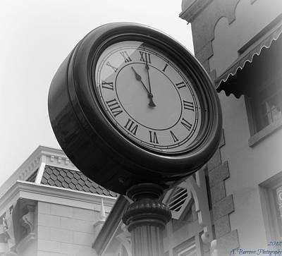 Main Street Clock Art Print