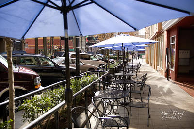 Patio Umbrellas Digital Art - Main Street Greenville - Color by Steve Shockley