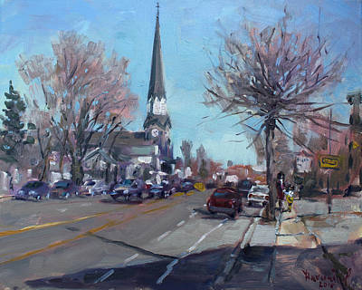 Main Street In Williamsville Art Print by Ylli Haruni