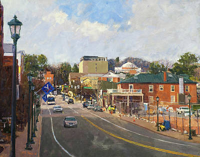 Thomas Jefferson Painting - Main Street Looking Toward The Rotunda by Edward Thomas