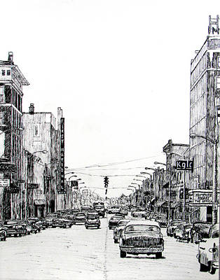 Stoplight Drawing - Main Street, Miami, Oklahoma, 1957 by Ron Enderland