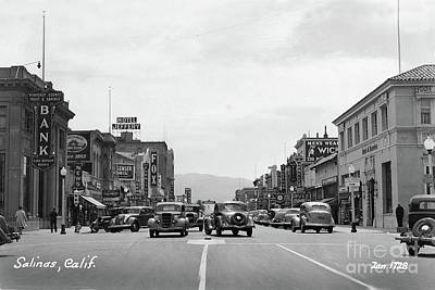 Photograph - Main Street, Monterey County Bank, Fox Theater,  Hotel Jeffery 1938 by California Views Mr Pat Hathaway Archives