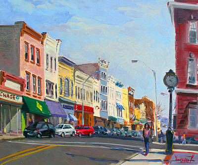 Clock Painting - Main Street Nayck  Ny  by Ylli Haruni