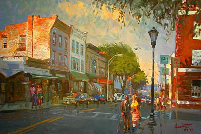 Street Painting - Main Street Nyack Ny  by Ylli Haruni