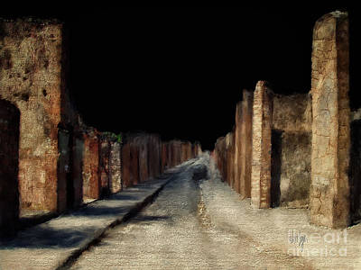 Art Print featuring the digital art Main Street, Pompeii by Lois Bryan